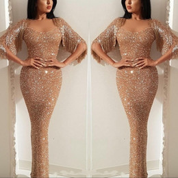 Arabic Sequin Prom Evening Dress Mermaid Tassel Sweetheart Sparkly Formal Party Gown Pagenat Dresses Custom Made Plus Size
