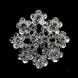 1.35 Inch Small Cute Flower Brooch with Clear Rhinestone Crystals Sparkly Silver Tone Wedding Accessory
