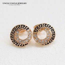 Rose Gold Color Retro Rome Element Round Style Rhinestones Setting Woman Stud Earrings Wholesale Gift