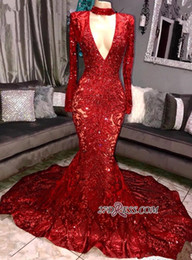 Red Royal Blue 2019 Gorgeous Bling Sequins Prom Dresses Mermaid Long Sleeves Evening Dress Women Sexy Party Gowns robes de soirée BC0842