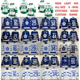 White St Pattys Day Pats Toronto Maple Leafs 91 John Tavares Jersey 34 Auston Matthews Mitchell Marner William Nylander Morgan Rielly blue
