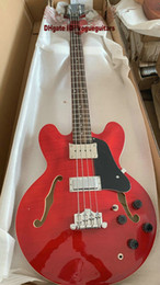 Free shipping 2019 Top Quality new arrival jazz Hollow 4 Strings red Electric Bass Guitar