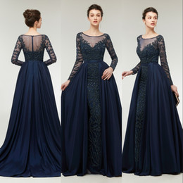 Real Image New Mermaid Evening Dresses Wear Jewel Neck Long Sleeves Crystal Beading Navy Blue Taffeta Detachable Overskirts Party Prom Gowns
