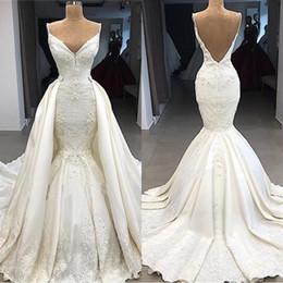 Gorgeous Mermaid Detachable Train Wedding Dresses 2019 Plus Size Low Backless Spaghetti Straps Appliques 3D Flowers Ruched Vestidos BC0776