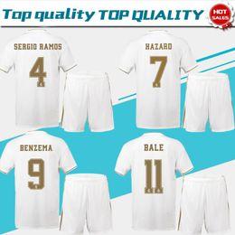 2020 Real Madrid home white #7 HAZARD #9 BENZEMA Soccer Jerseys 19 20 Men soccer suit short sleeve customized Football uniforms+pants