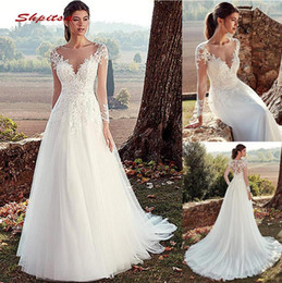 Long Sleeve Lace Wedding Dresses A Line Turkey Tulle Plus Size Country Style Bridal Wedding Dress See Through Wedding Gowns 2019