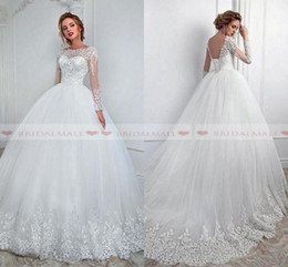 Vintage 2019 Bateau Neck White Lace Ball Gown Wedding Dresses Corset Lace Up Back Long Sleeves Bridal Gowns Custom Made Robe de mariée