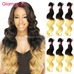 Glamorous Brazilian Ombre Hair Weaves 3 Bundles Ombre Blonde Hair Extensions Wholesale Peruvian Indian Malaysian Human Hair Weaves 12-30Inch