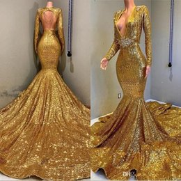 Mermaid Backless Prom Party Dresses Cheap V-neck Long Sleeves Sequined Bling Bling Bead Floor Length Evening Wear Gowns