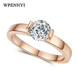 Brand Design Rose Gold Color Sparkling 2 Prong 6mm 0.75ct Zirconia Woman Engagement Rings Wholesale Accessory