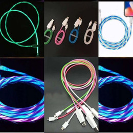 Flowing LED Visible Flashing USB Charging Charger Cable 1M 3FT Data Sync For Huawei Samsung Xiaomi LG Micro USB Type-C Mobile Phone