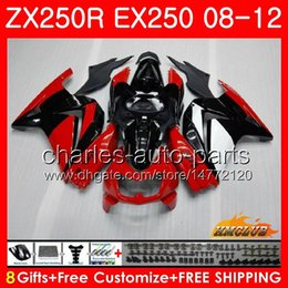Body For KAWASAKI NINJA ZX-250R EX-250 ZX250R 08 09 10 11 12 13HC.56 hot red blackZX 250R EX 250 EX250 2008 2009 2010 2011 2012 Fairing kit