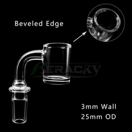 3mmWall 4mmBottom Beveled Edge Quartz Banger With New Joint Male Female 10mm 14mm 18mm 45 90 Degrees Quartz Nails for Glass Water Bong