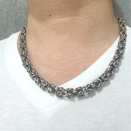COOL Stainless Steel Silver Turkish Round & Byzantine Chain Maille Necklace All handmade, very rare jewelry. NICE GIFT