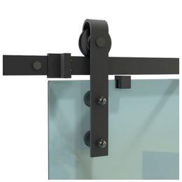 DIYHD 5ft 6ft 6.6ft rustic black glass sliding barn door hardware interior frameless sliding glass door track with round handle