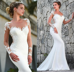 Elegant Sheer Neck Long Sleeve Lace Wedding Dresses Mermaid Long Beach Bridal Gown Edge Lace Piping vestido de novia Arabic BC2548