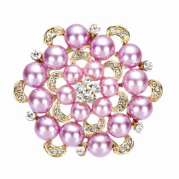 2.2 Inch 18k Gold Plate Lilac Pearl Bridal Bouquet Brooch with Clear Rhinetone Crystals