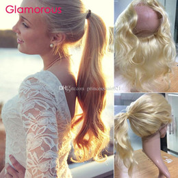 Glamorous Blonde Hair 360 Frontal #613 Brazilian Body Wave Straight Human Hair Full Lace Frontal Peruvian Indian Russian Round Lace Closures