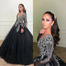 Vintage Beaded Crystals 2019 Prom Dresses Deep V-neck Long Sleeves Evening Gowns Tulle Sexy Formal Party Bridemaid Pageant Dress BC1369