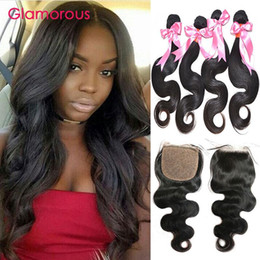 Glamorous Brazilian Virgin Hair with Silkbased Closure 4 Bundles Body Wave With Silk Closure Peruvian Malaysian Indian Human Hair 5Pcs Lot