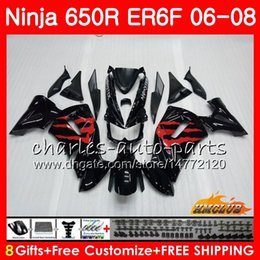 Body For KAWASAKI NINJA 650R ER6 F ER-6F 2006 2007 2008 Cowling factory black 29HC.81 Ninja650R 650 R ER6F 06 08 ER 6F 06 07 08 Fairing Kit