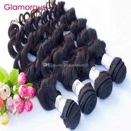 "Glamorous Natural Wave Human Hair Weave Cheap Brazilian Hair 4 Bundles 8""-34"" Raw Unprocessed Malaysian Indian Peruvian Wavy Hair Extensions"