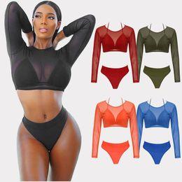 Women's Long Sleeve High Waist Swimwear 3 Pieces Bikini Set Sexy Mesh Triangle Thong Bikinis Beachwear Cover Up CCI0101
