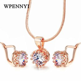 Top Quality Crown Shaped Jewelry Set Necklace Earrings Rose Gold Color Hearts & Arrows cut 7mm 1.25ct Zirconia Fashion Gift