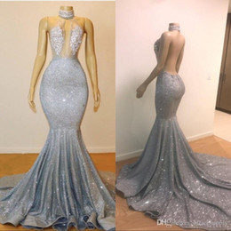 2019 Sexy Sheer Halter Mermaid Long Prom Dress Tulle Sequins Beaded Lace Applique Sweep Train Backless Party Evening Gowns Custom