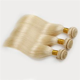 Honey Blonde Russian Hair Weave Extebsions #613 Blonde Straight Hair 3pcs lot Human Hair Extensions Platinum Blonde Wefts
