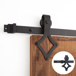 4.9FT 6FT 6.6FT Black rustic carbon steel diamond sliding barn door hardware