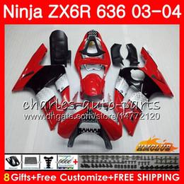 Body For KAWASAKI NINJA ZX600 red black hot ZX636 ZX-6R 03 04 ZX-636 36HC.19 ZX 636 6 R 600CC ZX6R 03 04 ZX 600 ZX 6R 2003 2004 Fairing kit
