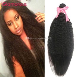 Glamorous Brazilian Unprocessed Human Hair Natural Color Kinky Straight Weave 2Pcs Peruvian Indian Malaysian Cambodian Mongolian Hair Weft