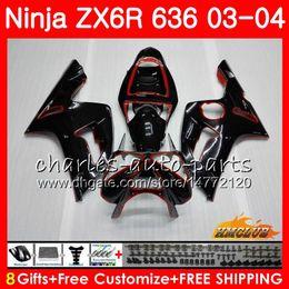 Body For KAWASAKI red black new NINJA ZX600 ZX636 ZX-6R 03 04 ZX-636 36HC.26 ZX 636 6 R 600CC ZX6R 03 04 ZX 600 ZX 6R 2003 2004 Fairing kit