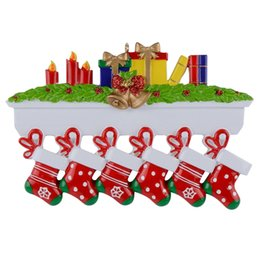 Mantel stockings family of 6 polyresin Christmas personalized ornament hand painted resin craft