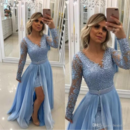 Vintage V Neck Pearls Lace Appliques Baby Blue Evening Dresses 2019 Long Sleeves With Detachable Skirt And Pearl Sash formal Prom Gowns