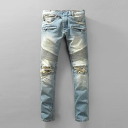 2019 Mens Blue Jeans Stylish Mens Slim Locomotive Pants Casual Or Career Wear Pencil Pants Motorcycle Jeans Trousers