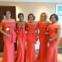 African Cheap Coral Mermaid Bridesmaid Dresses Portrait Neck Floor Length Plus Size Prom Dress Wedding Guest Gowns