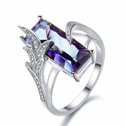 Luckyshin High Quality Fashion Style Sterling silver 925 Jewelry Ring Natural Rainbow Mystic Topaz Cubic Zirconia Rings For Women Free shipp