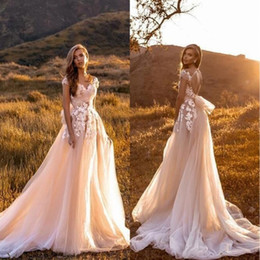 Elegant Cheap Open Back Wedding Dresses 2019 Capped Sleeves Lace Appliques Summer Garden Boho Tulle Bridal Gowns With Train