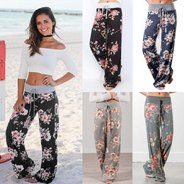 Women's Floral Flare Pants Drawstring Flower Print Wide Leg Pants Loose Straight Trousers Long Female Plus Size