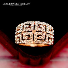Brand Design Rose Gold Color Clear Zirconia Studded Retro Rome Paved G Luxury Woman Finger Rings Wholesale Drop Ship