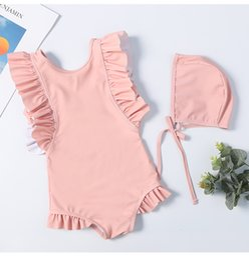 2019 kids swimwear With Caps kid bikini ruffle designer swimsuit Girls Clothes Korean Cute Beach Wear One-Pieces bathing suits