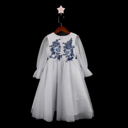 Latest Cute Jewel Flower Girl Birthday Dresses Ball Gown Sheer Neck Long Sleeve With Lace Applique Kids Girls Pageant Dresses