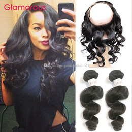 Glamorous Brazilian Loose Wave Hair Weave with 360 Lace Frontal Peruvian Indian Malaysian Human Hair Bundles with 360 Closure 3Pcs Lot