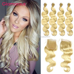 Glamorous Blonde Hair Weaves with Closure Brazilian Malaysian Indian Peruvian Body Wave Straight Human Hair 4 Bundles with 4x4 Lace Closure