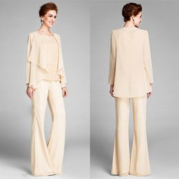 Vintage Chiffon Mother of Bride Groom Pantsuits With Wrap A Line Chiffon Jewel Neck Mother Pantsuits Plus Size