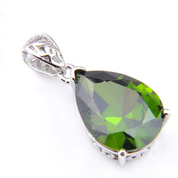 12*16 mm Special Offer 10 Pcs  Lot Luckyshine Olive Peridot Gems Silver Necklace Pendants For Women Crystal Cubic Zirconia Pendants Jewelry
