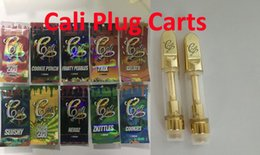 510 Gold Cali Plug Carts Vape Cartridge Ceramic Coil Golden Oil Cartridge and Holographic Zip lock Bags For Thick Oil 10 Flavors Dank