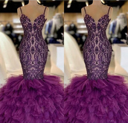 Purple Mermaid Long Prom Dresses 2019 Lace Appliques Layered Ruffles Tulle Floor Length Formal Party Evening Gowns BC1131
